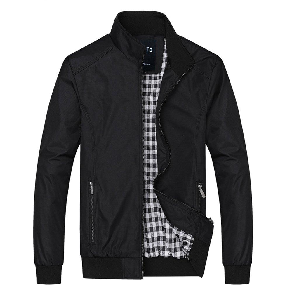 Lega Men's Casual Lightweight Zip Coat Windbreaker Jacket (Black, S)