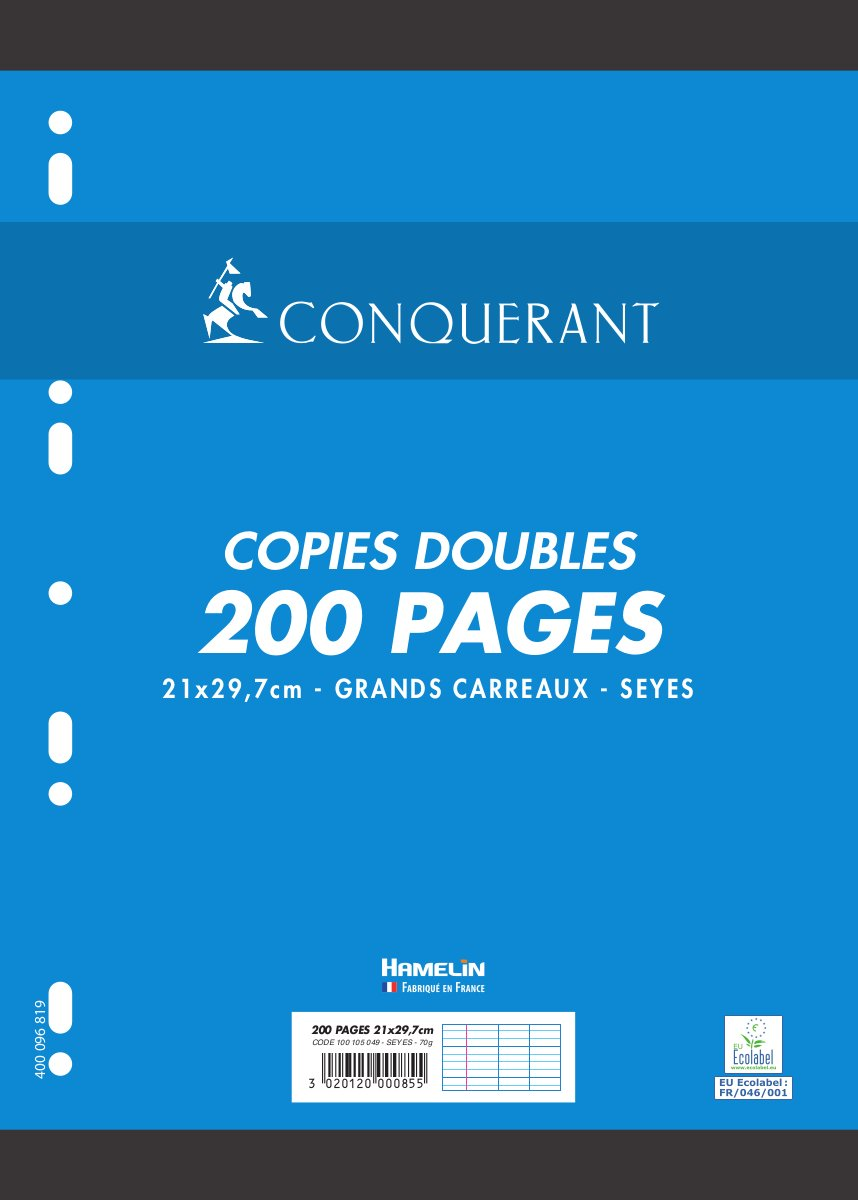 Conquérant - Doppie copie perforate A4 Petits carreaux F. simples Hamelin Brands 100100117