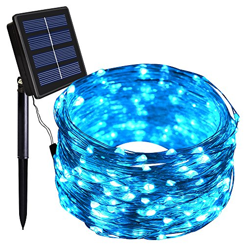 100 Blue Solar Powered Led Outdoor String Fairy Lights - 8