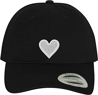 3D Love Heart Classic Baseball Cap Men Women Dad Hat Twill Adjustable Size Black