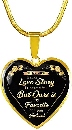 Charming Chain Heart Pendant I Love My Wife Necklace I Love My Husband Gift