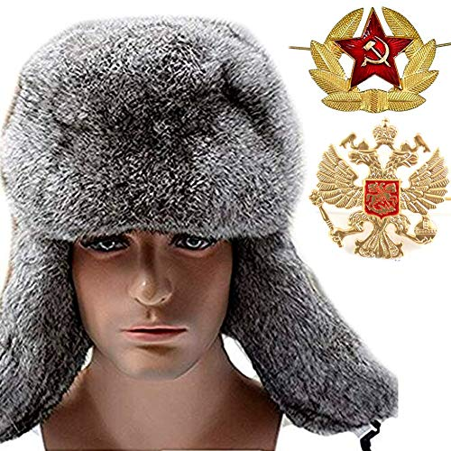 Fur Aviator Hat - Valpeak Mens Winter Hat Real Rabbit