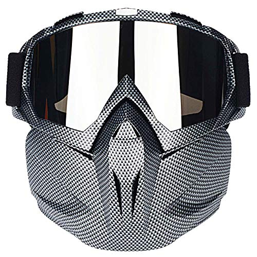 Ubelly Motorcycle Goggles with Detachable Mask,Motocross Goggles Mask Airsoft Safety Goggles Mask UV400 Protection,Cool Helmet Glasses