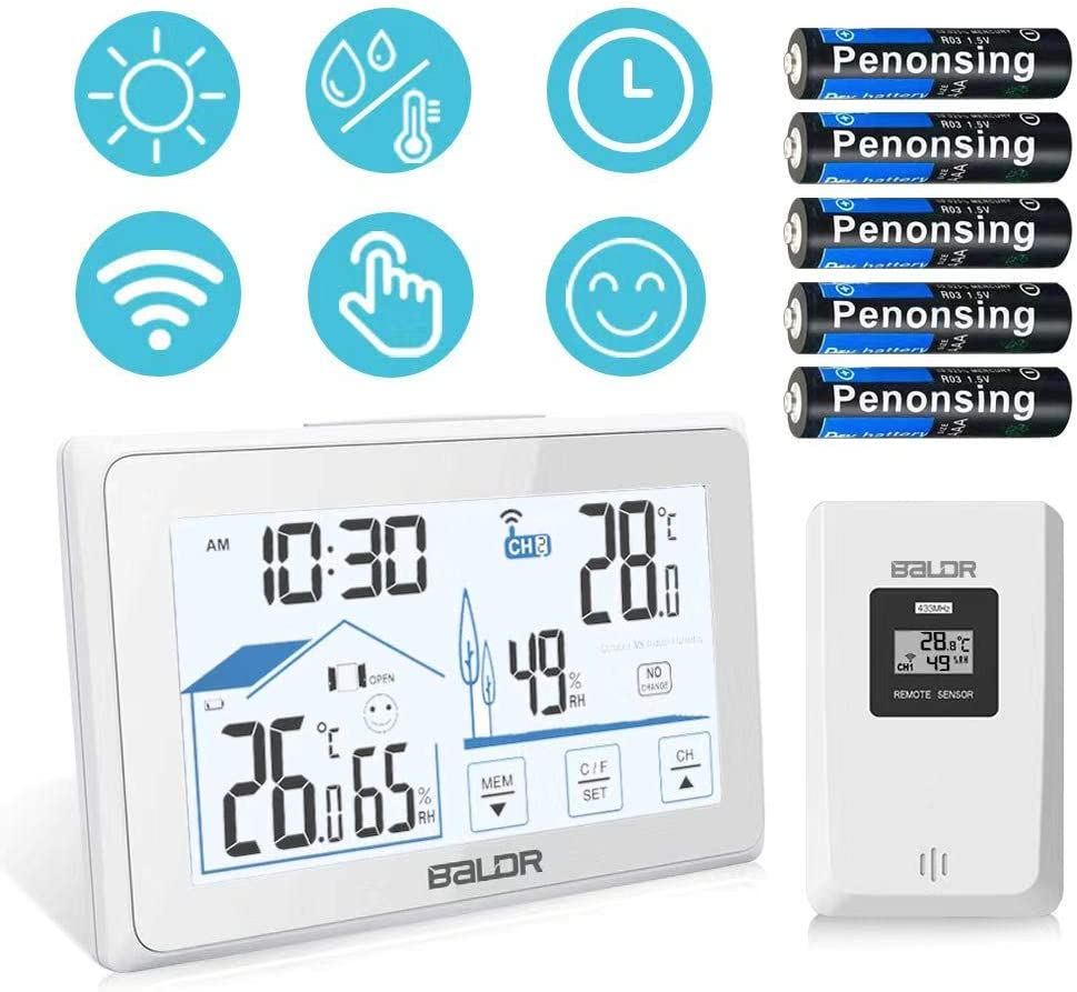 Wireless Weather Station Digital Temperature Humidity Monitor Color Forecast Station with Alarm Clock /& Snooze Function for Home Office KeeKit Indoor Outdoor Thermometer Hygrometer Bedroom
