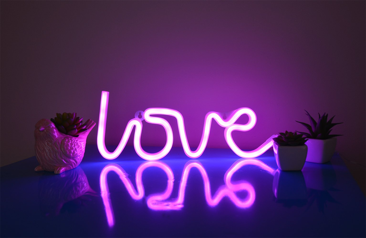 ''All you need is Love'' Neon Love Sign LED Light, Love Shaped, Decor Light, Wall Decor for Bedroom, Birthday Party, Living Room, Wedding Party Decoration, Battery Operated - Pink Neon