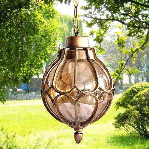 Bronze Vintage Industriel Pendentif En Verre Lampes Abat-Jour Imperméable à L'extérieur Cour Jardin Jardin En Aluminium Plafonniers Luminaires Balcon Allée Corridor Hydrangea E27 180mm (Couleur   Bronze)