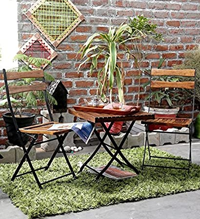 Matchless Outdoor Furniture Set with 2 Folding Chair and 1 Table for Patio Balcony (Multicolour)