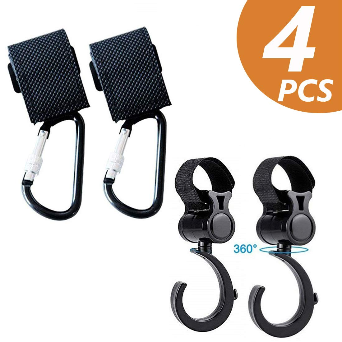TECHSON 2X Stroller Hooks Multi Purpose Hanger for Baby Diaper Bags, Great Organizer Accessory for Mommy When Jogging Walking or Shopping (Black) (4 Pack) by Techson