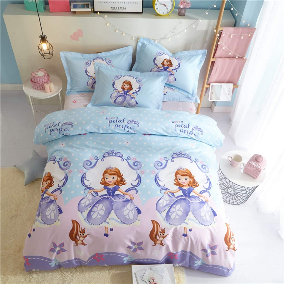 Casa コットン100% キッズ寝具セット 女の子 プリンセスソフィア布団カバーと枕カバーとフラットシーツ、ガールズ、4ピース フル ブルー B07JVJJXQT フラットシーツ フル