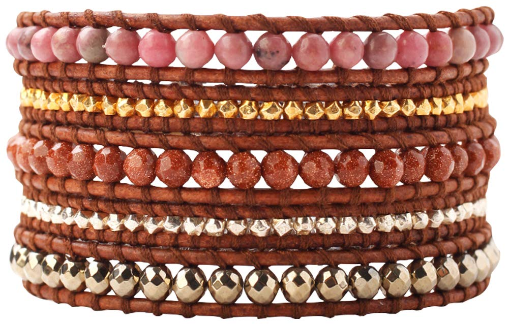 Chan Luu Rhodonite Mix of Semi Precious Stones Dark Brown Leather Wrap Bracelet
