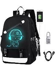 DOLIROX Anime Luminous Backpack Boys Girls Outdoor Backpack Daypack Unisex Shoulder School Bag Laptop Bag (Black A)