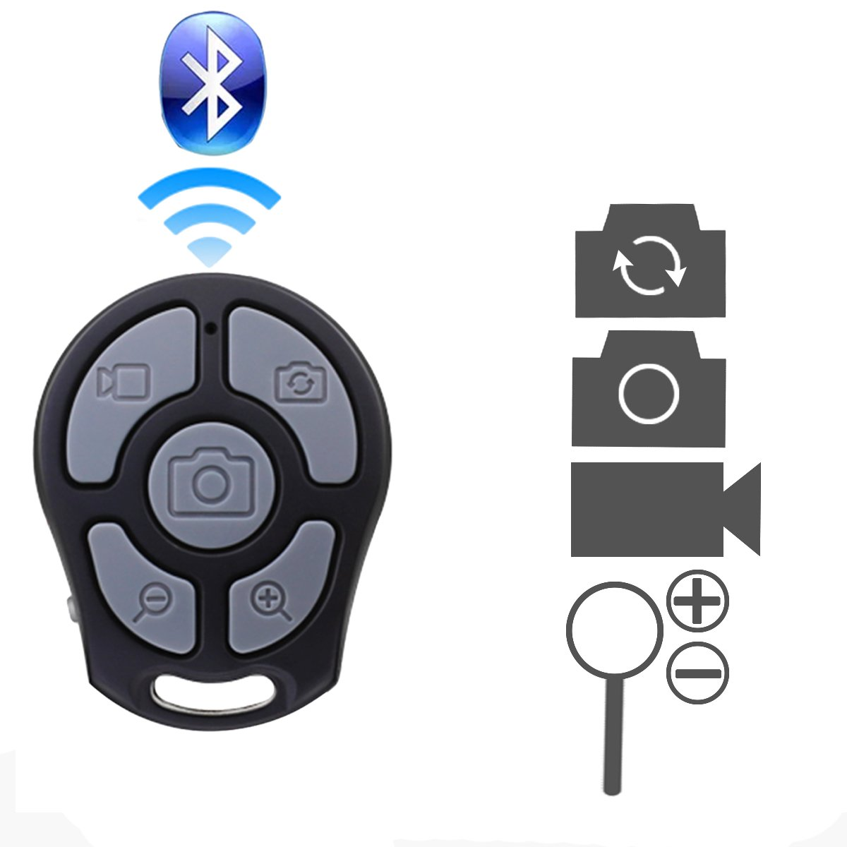 xhorizon TM FL1 Advanced Mini Multifunction Portable Wireless Bluetooth V3.0 Selfie Camera Shutter Remote Controller with Zoom/Video/Camera Switch Functions Compatible with Android iOS (Black)