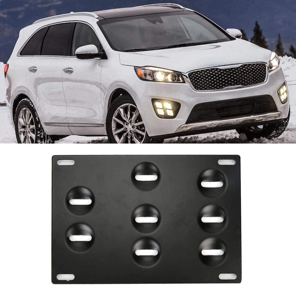 License Plate Holder,Aluminum Alloy Car Front Bumper Tow Hook License Plate Mount Bracket 8 Holes Adjustable Holder