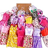 #9: 5pcs Fashion Mini Dress For Barbie Doll Handmade Short Party Gown Clothes + 5 hangers + 5 shoes