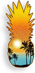Pineapple Sticker Beach Ocean Palm Tree Scene Car Truck Laptop Window Bumper Custom Printed Colorful Vinyl Decal Graphic