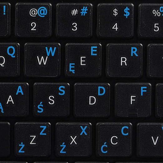 Etiquetado de teclado programador polaco sobre fondo ...