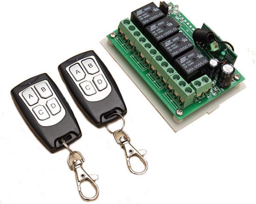 T/él/écommande RF sans fil 4 canaux ABCD 433 MHz Porte /électrique universelle pour porte de garage T/él/écommande Fob Controller-code dapprentissage noir et argent