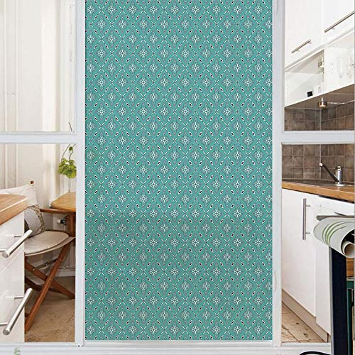 Decorative Window Film,No Glue Frosted Privacy Film,Stained Glass Door Film,Moroccan in Geometric Rectangular Frames with Floral Arrangement,for Home & Office,23.6In. by 59In Turquoise Dark Blue White