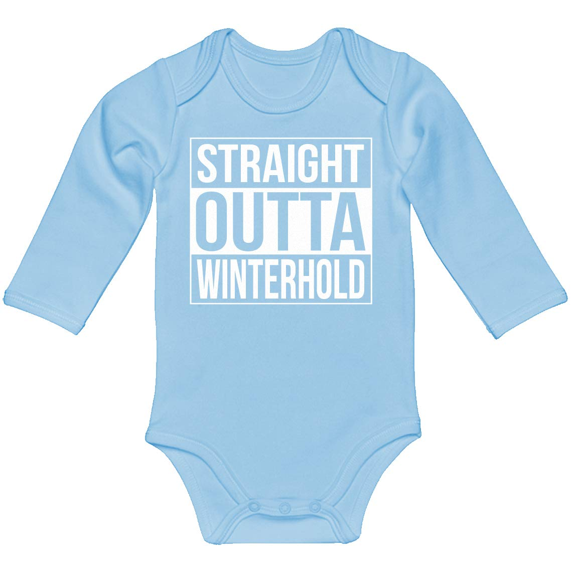 Indica Plateau Baby Romper Straight Outta Winterhold 100/% Cotton Long Sleeve Infant Bodysuit