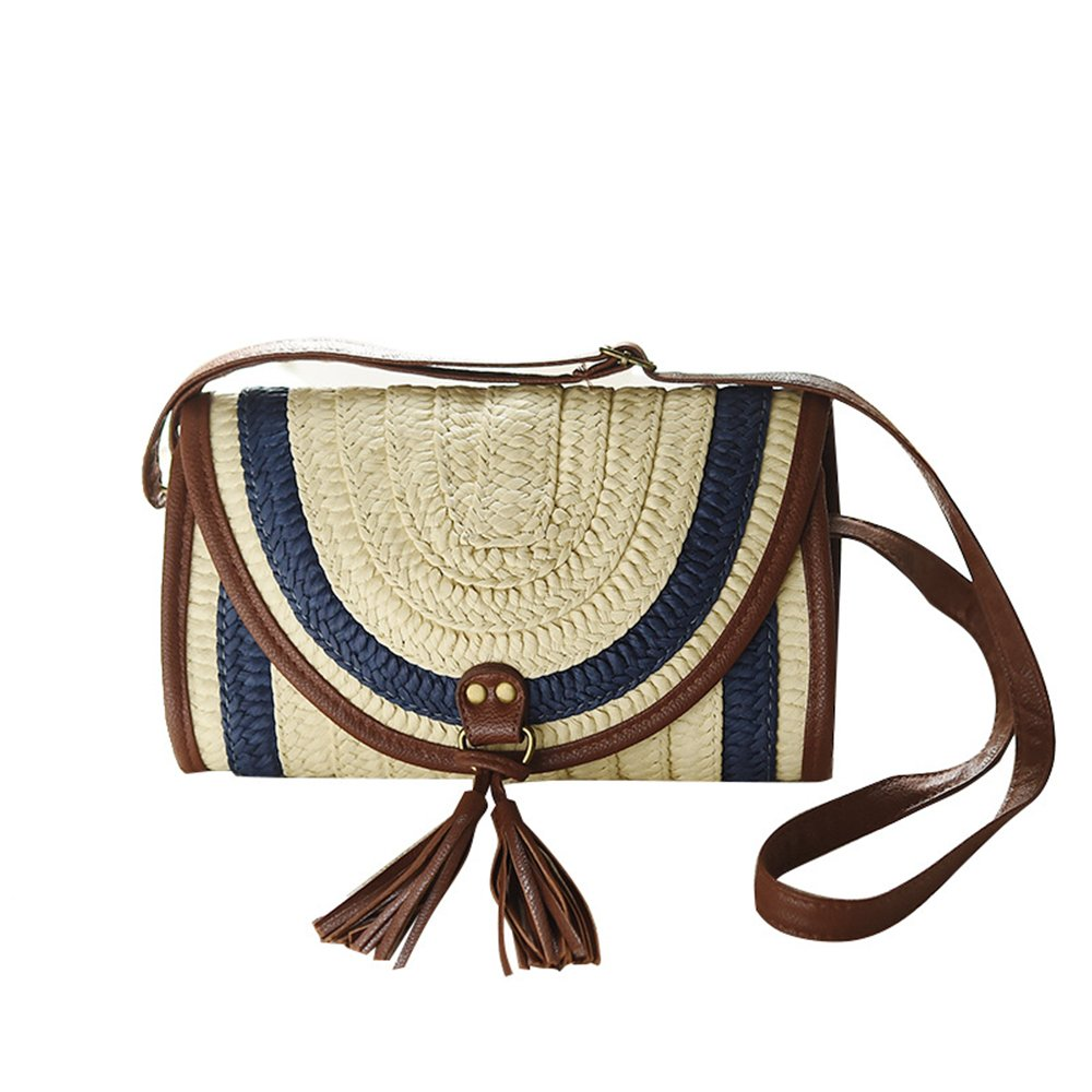 Luvier Cute Small Crossbody Straw Bag For Women Girls,Summer Woven Messager Shoulder Bags Mini Beach Purse (One Size, Blue)