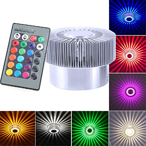 Fullfun Colorful RGB Spiral LED Wall Lamp Light, 360 Degrees, Remote control (B)
