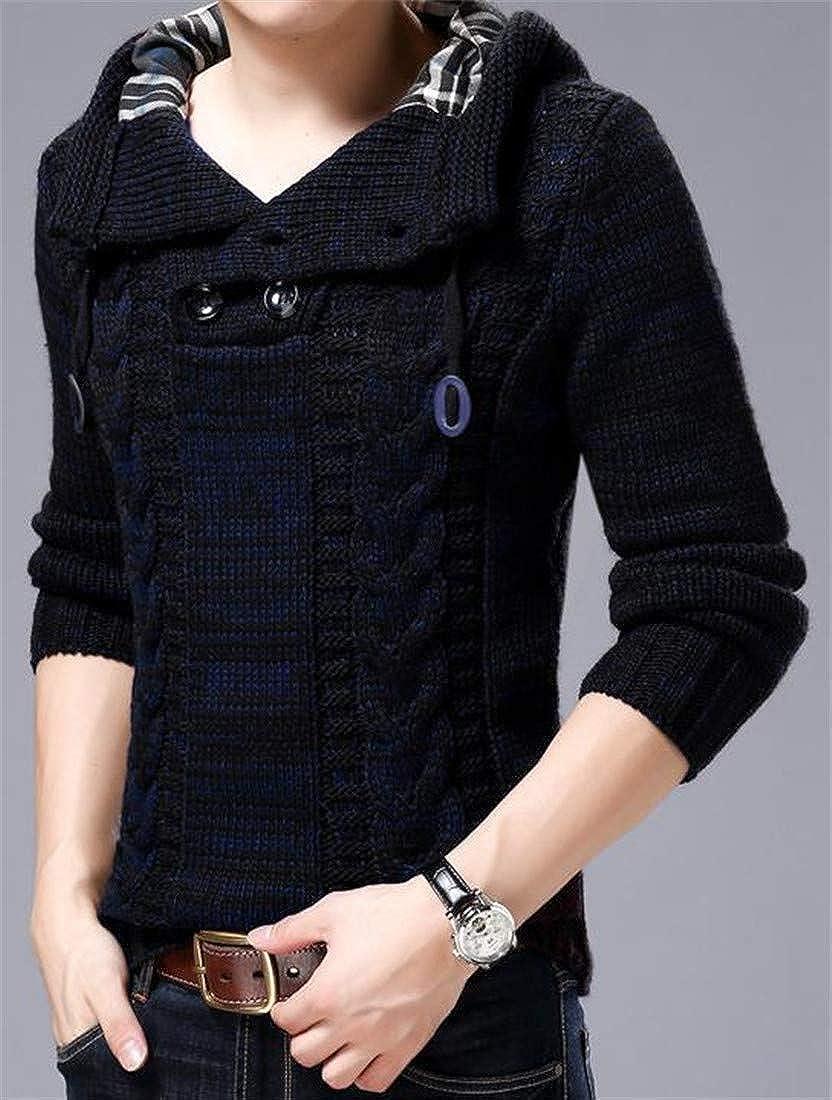 Joe Wenko Men Pullover Drawstring Knitwear Long Sleeve Hooded Premium Sweater