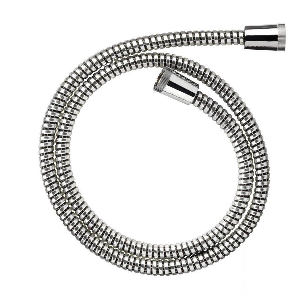 Croydex® Essentials Reinforced PVC Shower Hose Pipe Universal Connectors for Home Bathroom Kitchen Bath Tub Size 1.25m Chrome