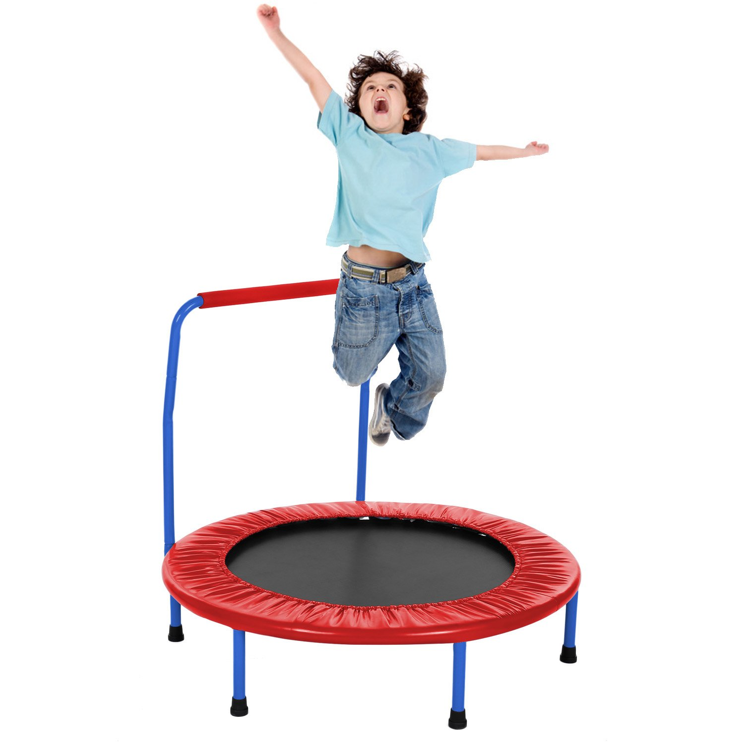 Fioleken Mini Rebounder Trampoline for Kids 36 inch Foldable with Adjustable Handle Indoor/Outdoor Use for Child Age 3+ (Red)