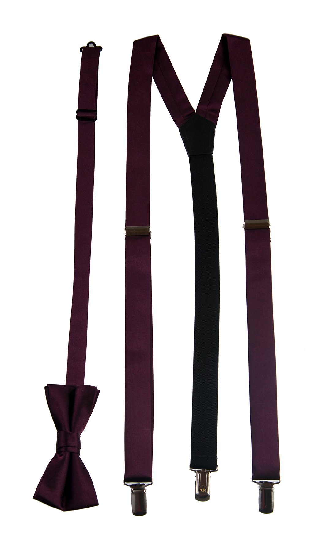 Satin Suspender and Bow Tie Set Combo in Men's & Kids Sizes (Boys 34, Plum)
