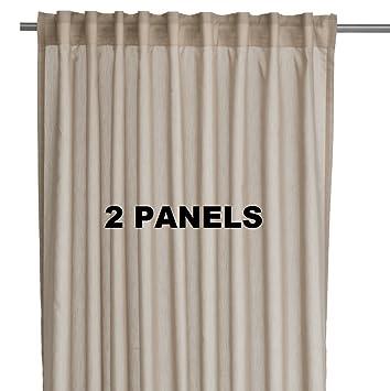 ikea vivan pair of curtains drapes 2 panels beige color