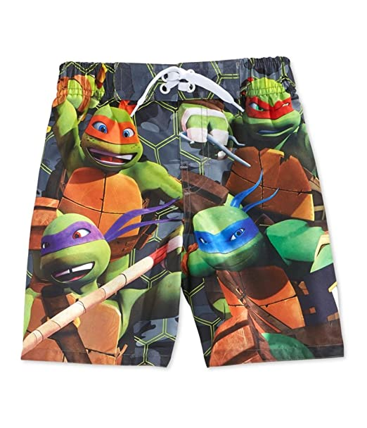 eb5eb07e47 Amazon.com: Nickelodeon Teenage Mutant Ninja Turtles Boys Turtle Power Swim  Trunks Board Shorts: Clothing