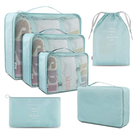BROTOU Organizador de Equipaje, 6 Set Organizador de Maleta Bolsa para Ropa Sucia de Viaje, Impermeable Cubos de Embalaje para Viaje (Azul Claro)