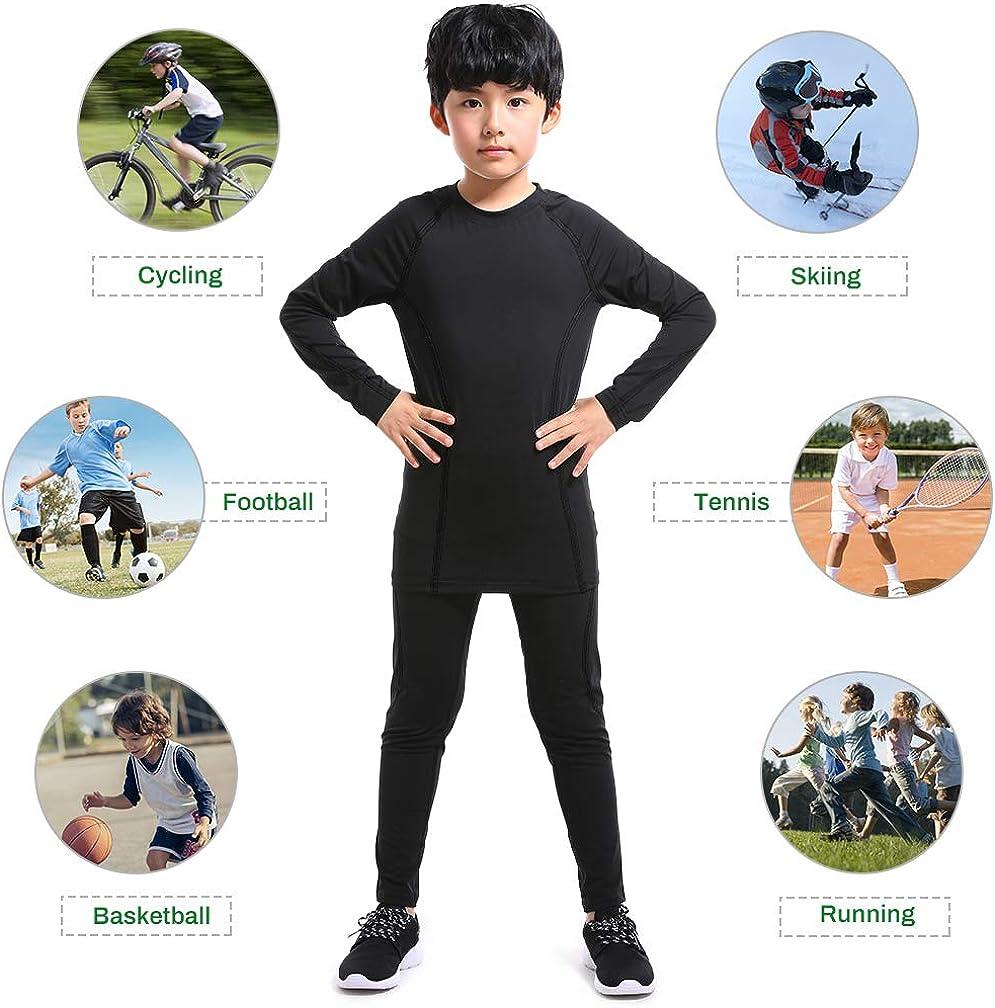 TERODACO Boys Compression Thermal Leggings /& Shirts Athletic Base Layer Underwear Set for Hockey Training Basketball