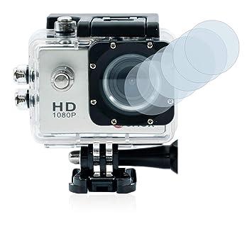 savvies Protector Pantalla Compatible con Qumox SJ4000 Sports HD DV Action CAM Lente (Carcasa) (6 Unidades) Pelicula Ultra Transparente