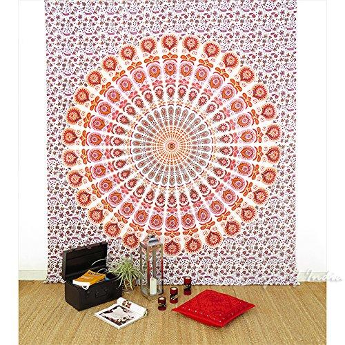 EYES OF INDIA - Queen White Orange Indian Hippie Mandala -