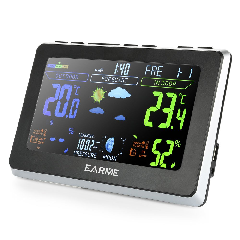 EARME Wireless Digital Temperature Monitor Thermo-hygrometer, Remote Thermometer Hygrometer Gauge,With Color Backlight ,Indoor/Outdoor Humidity for Home Comfort, Min/Max Records, Batteries Includ (657)