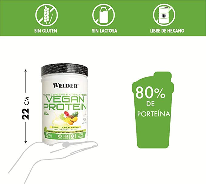 Weider Vegan Protein, Sabor Piña Colada, Proteína 100% vegetal de guisantes (PISANE)y arroz, Sin gluten, Sin lactosa, Sin aceite de palma (750 g)