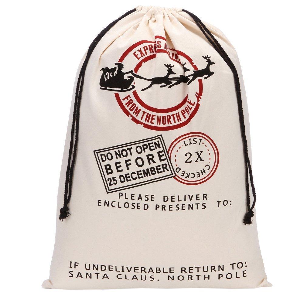 Color de la Navidad bolsas de regalo bolsa saco de regalos de Papá Noel de alce acuosa orgánico bolsas de lona resistente con bolsa de cordón rojo para Auto ...