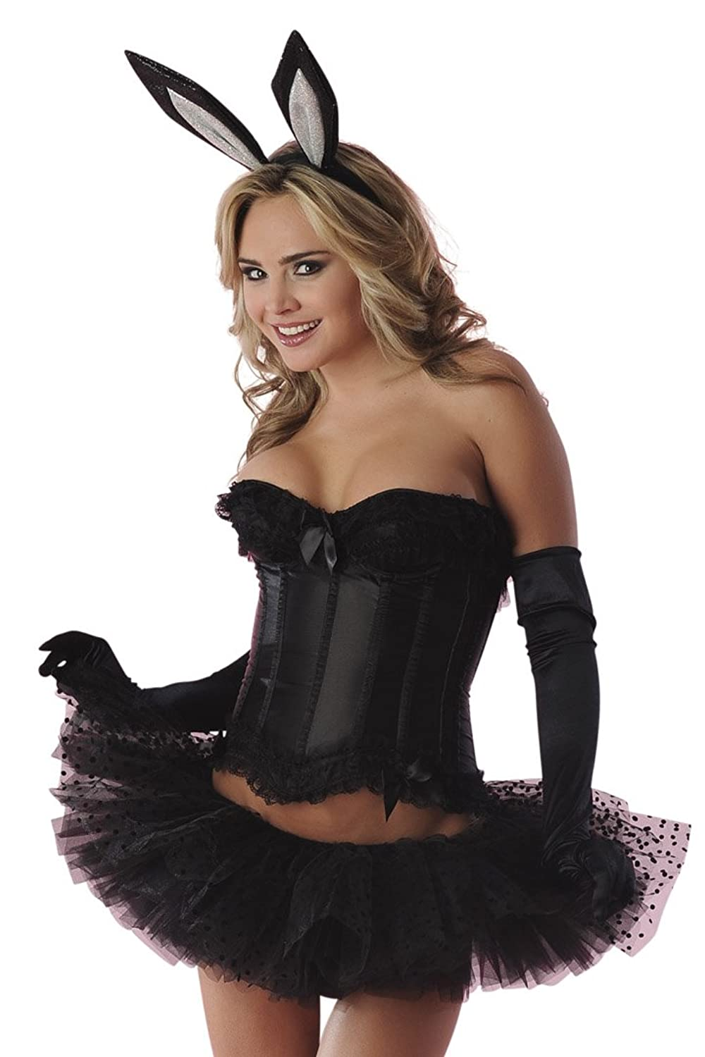 3173529881f Sexy adult bunny costume for ladies. Features a bow detailed corset.  Includes tutu and fun bunny ears. Comes with pin on tail and gloves
