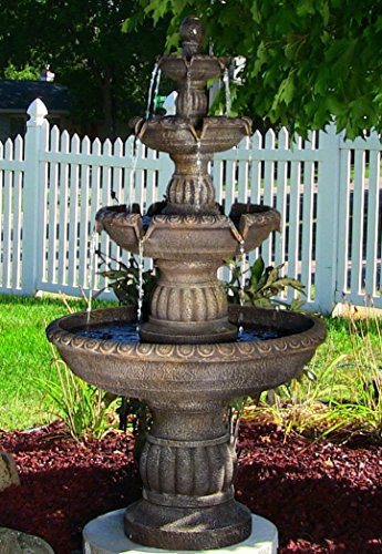 Outdoor Water Fountain Bird Bath Garden Antique Relaxation Electric