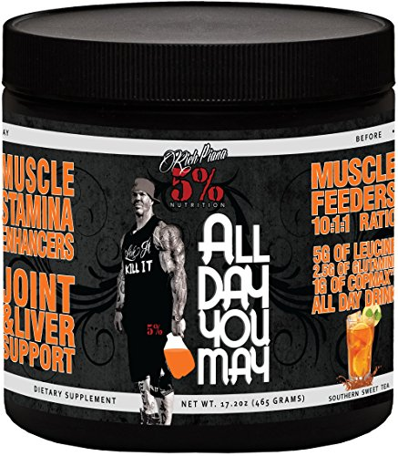 Sweet Rich (Rich Piana 5% Nutrition All Day You May BCAA & Joint Recovery Drink (Southern Sweet Tea) 17.2oz (465 Grams) 30 Servings)