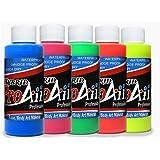 Face Painting Makeup - ProAiir Waterproof Makeup - Set of 5 Fantastic Fluorescents - 1 oz (30ml)