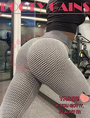 SLIMBELLE High Waist Yoga Pants Scrunched Booty Leggings for Women Anti Cellulite Workout Running Butt Lift Tights White M