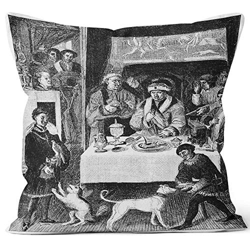 """Nine City Antique of Lunch of a 16th Century Flemish Gentleman Throw Pillow Cover,HD Printing for Sofa Couch Car Bedroom Living Room D¨¦cor,18"""" W by 18"""" L"""