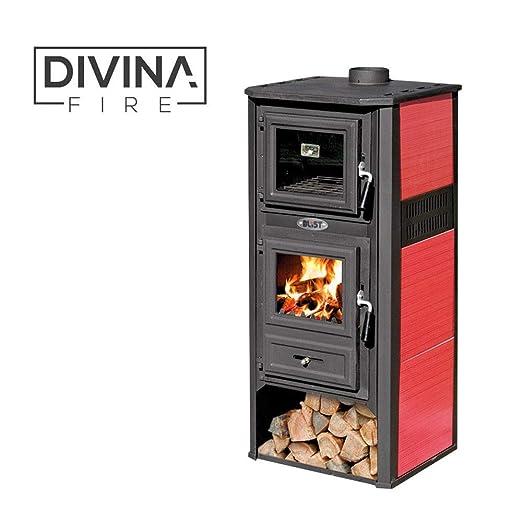 Divina Fire estufa leña 10 - 12 kW Acero Fundido roja Horno ...