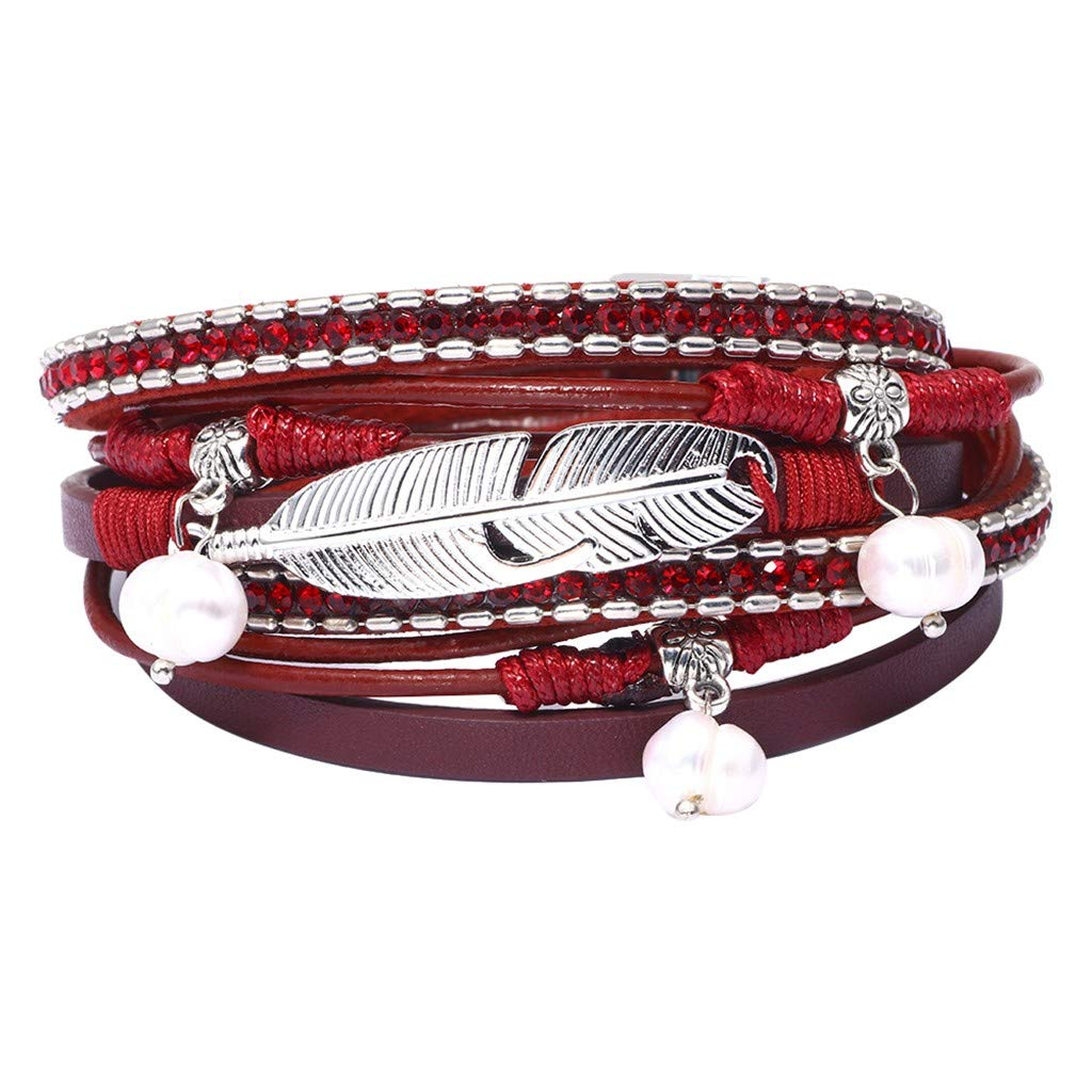 callm Woman Girl Bracelet, Multi Layer Feather Leather Bracelet Braided Wrap Cuff Bangle Alloy Magnetic Clasp Handmade