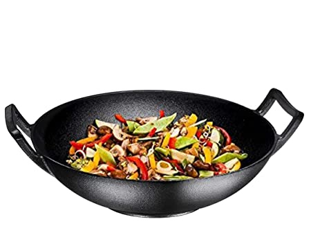 Bruntmor, Pre-Seasoned Cast Iron Wok, Black, 14-inch w Large Loop Handles Flat Base 14 Wok