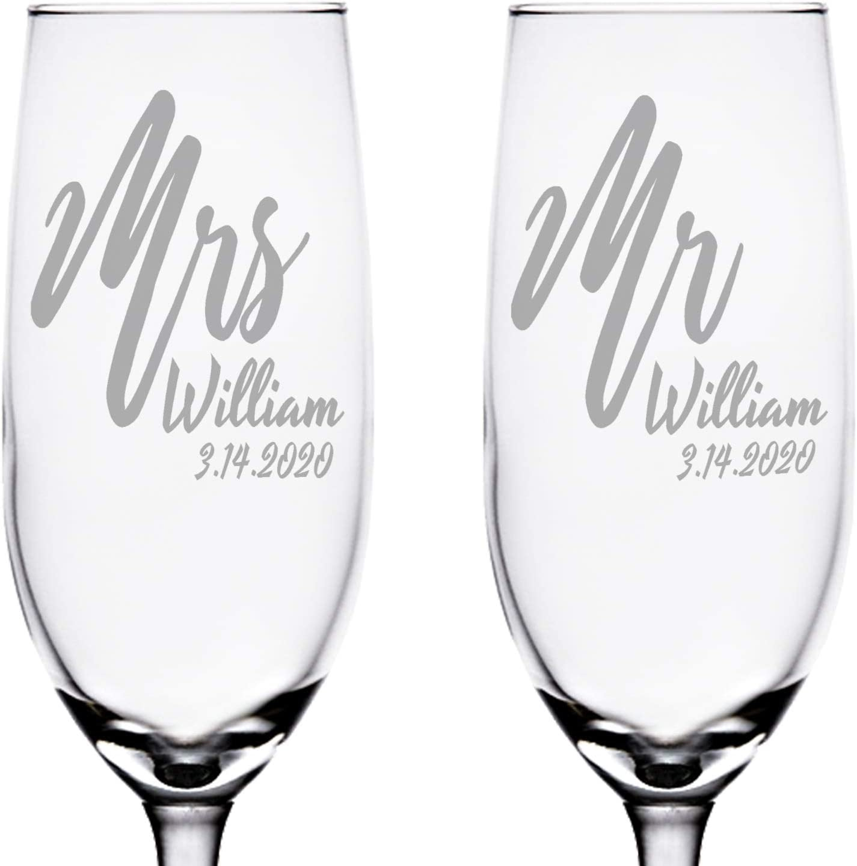 48 x Personalised Engraved 60ml Shot Glass Wedding Bride Groom Mr /& Mrs