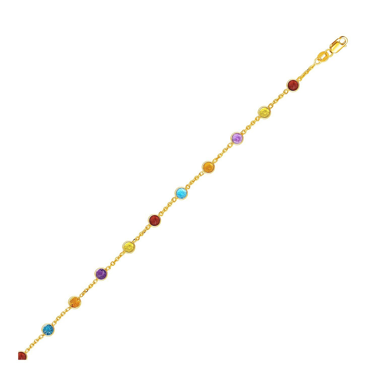 14K Yellow Gold Cable Anklet with Round Multi Tone Stations Design