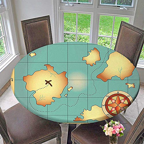 - Mikihome Modern Table Cloth Treasure Map Design with Navigation Adventure Hidden Land Theme Cream Blue Indoor or Outdoor Parties 63